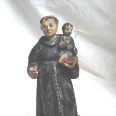 Arte - San Antonio S XIX talla madera policromada. Med. 24 cm - 109492195
