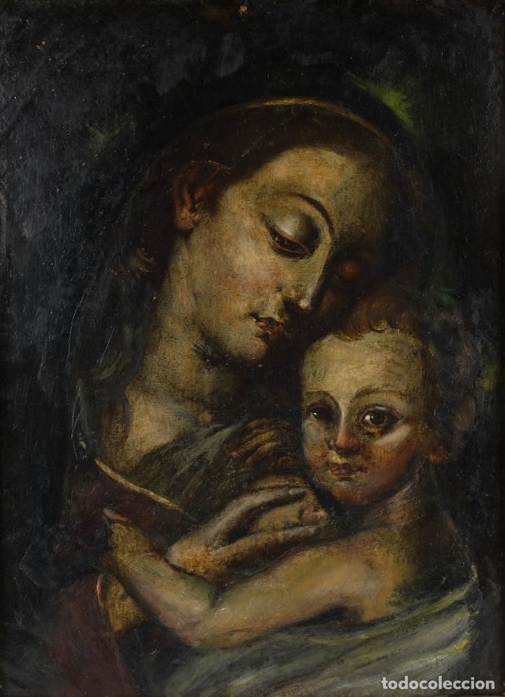 ÓLEO SOBRE COBRE VIRGEN CON NIÑO SIGLO XVII (Arte - Arte Religioso - Pintura Religiosa - Oleo)