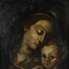 Arte: ÓLEO SOBRE COBRE VIRGEN CON NIÑO SIGLO XVII. Lote 109493567