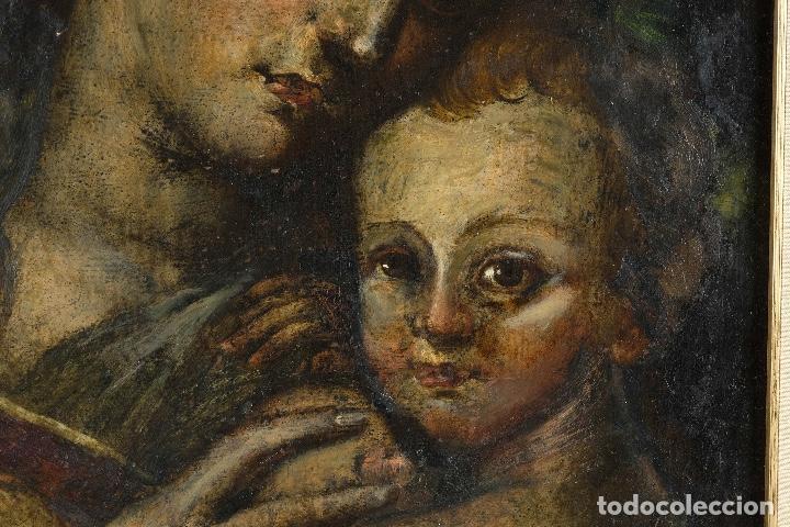 Arte: Óleo sobre cobre Virgen con niño siglo XVII - Foto 5 - 109493567