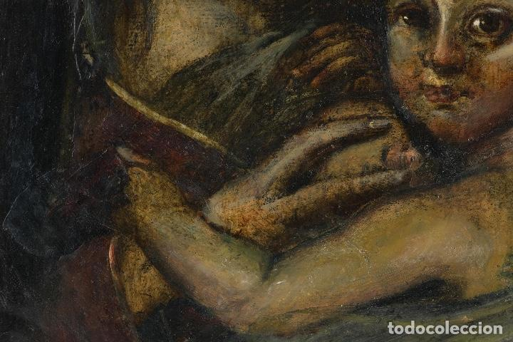 Arte: Óleo sobre cobre Virgen con niño siglo XVII - Foto 6 - 109493567