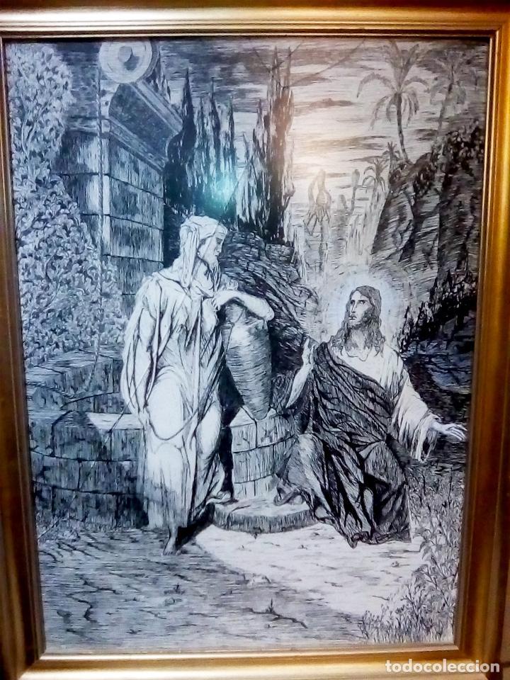 BONITO CUADRO A TINTA CHINA - JESUS Y LA SAMARITANA - DEL ARTISTA MIGUEL A. MOLERO DEL 1986 TAMAÑO 7 (Arte - Arte Religioso - Pintura Religiosa - Otros)