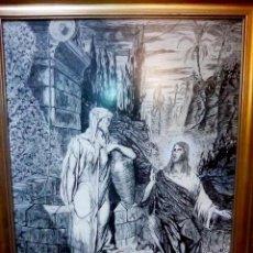 Arte: BONITO CUADRO A TINTA CHINA - JESUS Y LA SAMARITANA - DEL ARTISTA MIGUEL A. MOLERO DEL 1986 TAMAÑO 7. Lote 109508615