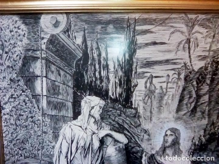 Arte: BONITO CUADRO A TINTA CHINA - JESUS Y LA SAMARITANA - DEL ARTISTA MIGUEL A. MOLERO DEL 1986 TAMAÑO 7 - Foto 2 - 109508615