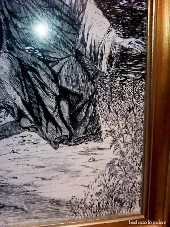 Arte: BONITO CUADRO A TINTA CHINA - JESUS Y LA SAMARITANA - DEL ARTISTA MIGUEL A. MOLERO DEL 1986 TAMAÑO 7 - Foto 3 - 109508615