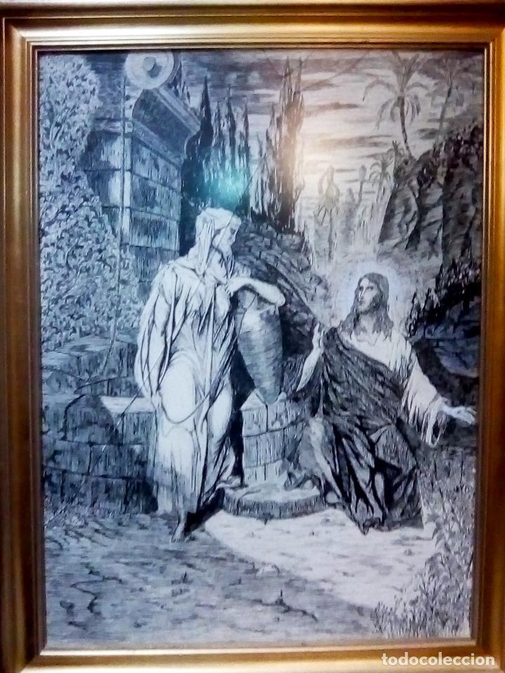 Arte: BONITO CUADRO A TINTA CHINA - JESUS Y LA SAMARITANA - DEL ARTISTA MIGUEL A. MOLERO DEL 1986 TAMAÑO 7 - Foto 4 - 109508615