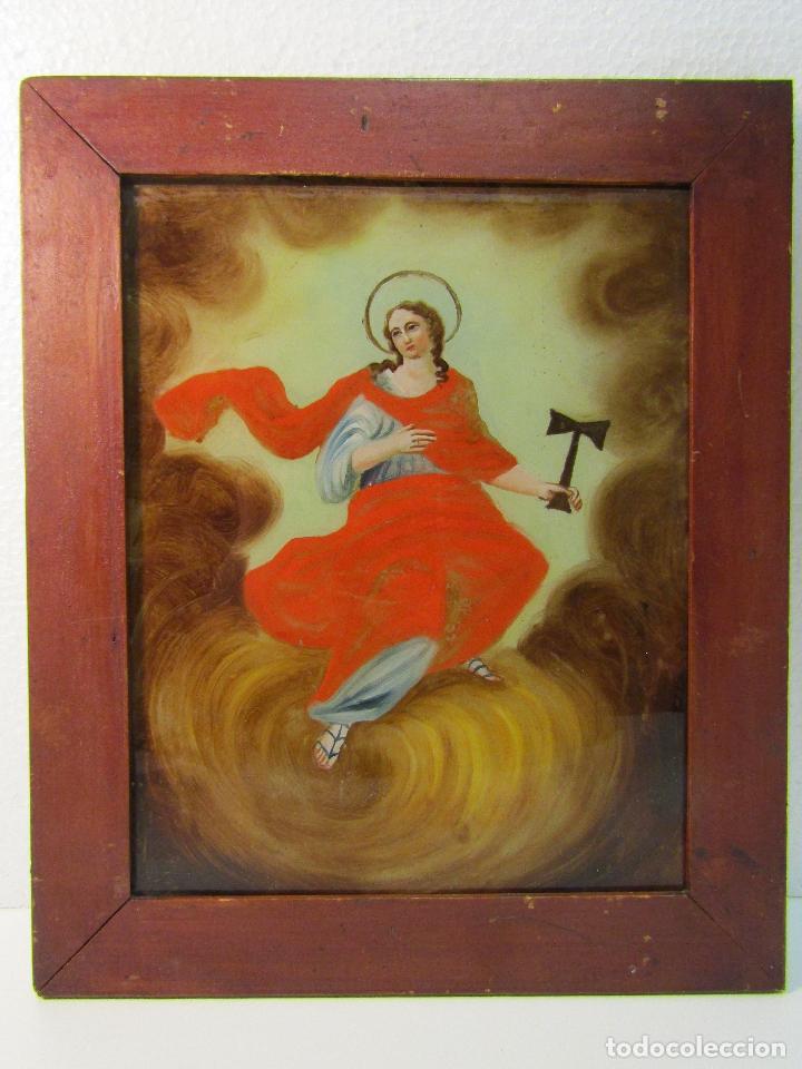 OLEO SOBRE VIDRIO CUADRO SIGLO XVIII SANTA TECLA (Arte - Arte Religioso - Pintura Religiosa - Otros)
