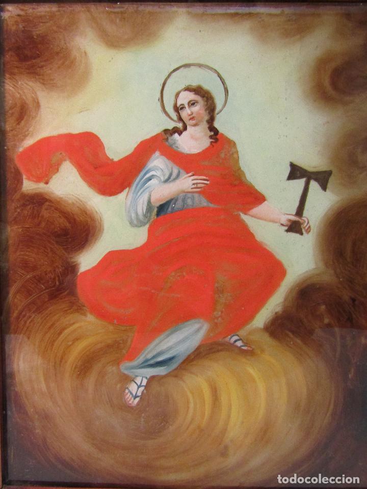Arte: OLEO SOBRE VIDRIO CUADRO SIGLO XVIII SANTA TECLA - Foto 2 - 109529571