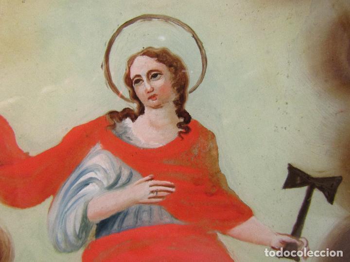 Arte: OLEO SOBRE VIDRIO CUADRO SIGLO XVIII SANTA TECLA - Foto 3 - 109529571