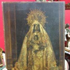 Arte: ANTIGUA LITOGRAFIA DE LA VIRGEN DE LA MERCED PATRONA DE JEREZ PEGADA EN PLEIBO - MEDIDA 45X28,5 CM. Lote 109569867