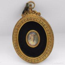 Arte - Antiguo Retrato Miniatura Pintado a mano sobre Marfil Marco en Bronce - 110006463