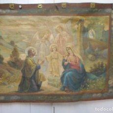 Arte: PRECIOSO TAPIZ SAGRADA FAMILIA REPRESENTANDO HUIDA A EGIPTO SIN FIRMA CREO ECHO A MANO. Lote 110080447