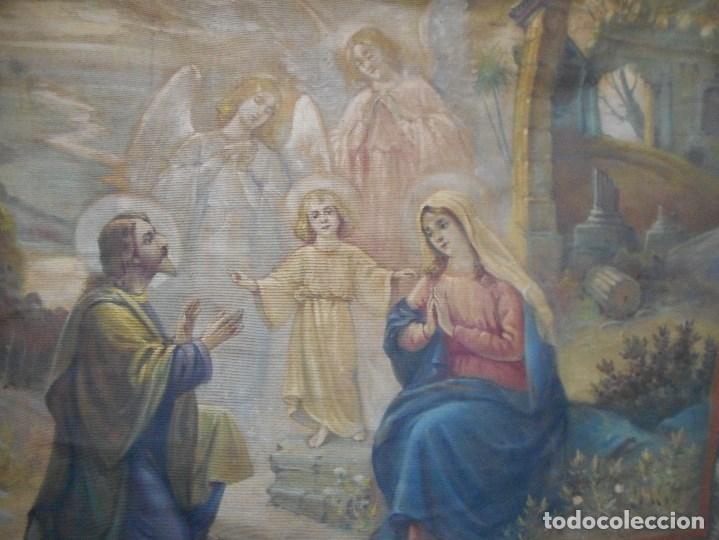 Arte: precioso tapiz sagrada familia representando huida a egipto sin firma creo echo a mano - Foto 2 - 110080447