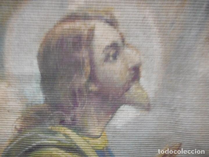 Arte: precioso tapiz sagrada familia representando huida a egipto sin firma creo echo a mano - Foto 6 - 110080447