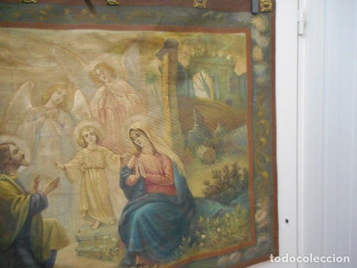 Arte: precioso tapiz sagrada familia representando huida a egipto sin firma creo echo a mano - Foto 9 - 110080447
