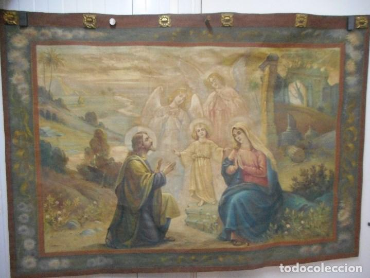 Arte: precioso tapiz sagrada familia representando huida a egipto sin firma creo echo a mano - Foto 10 - 110080447