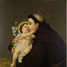 Arte: CROMOLITOGRAFÍA ANTIGUA SAN ANTONIO DE PADUA 1899 ALEMANIA. Lote 110114091