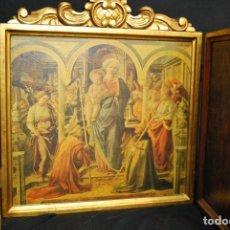 Arte: ICONO TRIPTICO RELIGIOSO GRAN TAMAÑO 82X43 EN PAN DE ORO. Lote 110150279