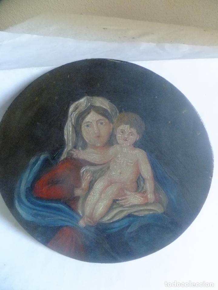 Arte: Oleo antiguo sobre tabla Virgen con Niño Jesus popular - Foto 3 - 110157687