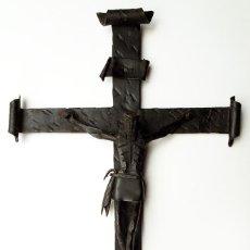 Arte: ESCULTURA RELIGIOSA ARTE ABSTRACTO CRUCIFIJO CRISTO EN LA CRUZ FORJA ARTÍSTICA VINTAGE AÑOS 50 60. Lote 110363411