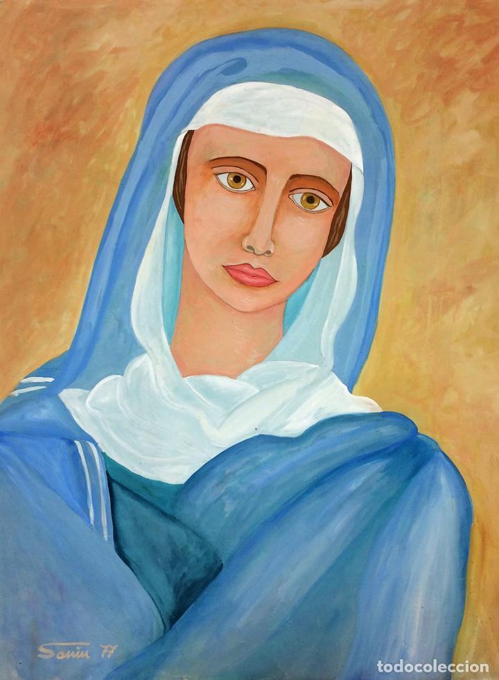 LA VIRGEN MARIA. ACUARELA SOBRE PAPEL. FIRMADO SANIN(?). ESPAÑA. 1977 (Arte - Arte Religioso - Pintura Religiosa - Acuarela)