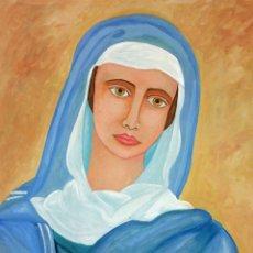 Arte: LA VIRGEN MARIA. ACUARELA SOBRE PAPEL. FIRMADO SANIN(?). ESPAÑA. 1977. Lote 110367783