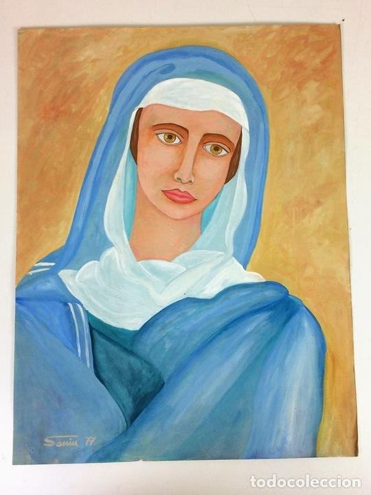 Arte: LA VIRGEN MARIA. ACUARELA SOBRE PAPEL. FIRMADO SANIN(?). ESPAÑA. 1977 - Foto 2 - 110367783