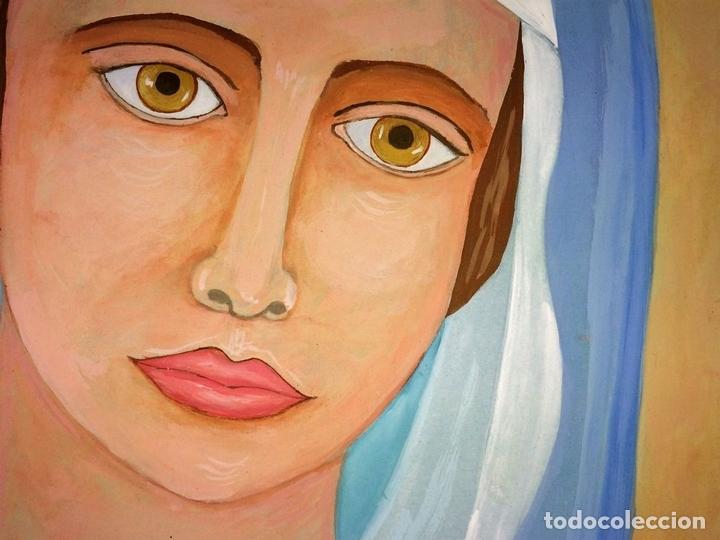 Arte: LA VIRGEN MARIA. ACUARELA SOBRE PAPEL. FIRMADO SANIN(?). ESPAÑA. 1977 - Foto 3 - 110367783