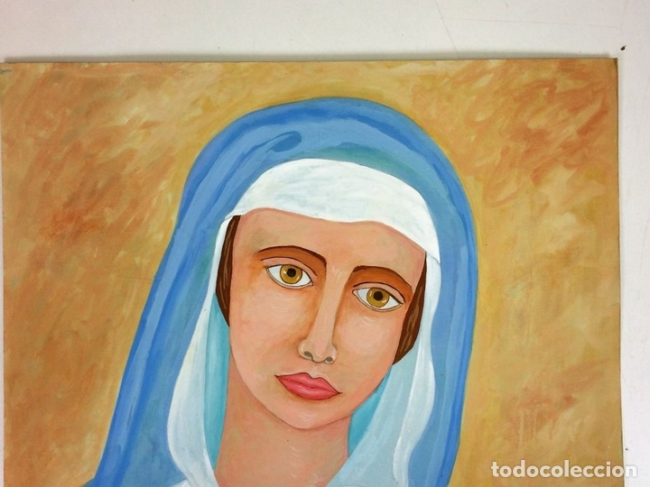 Arte: LA VIRGEN MARIA. ACUARELA SOBRE PAPEL. FIRMADO SANIN(?). ESPAÑA. 1977 - Foto 6 - 110367783