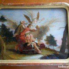 Arte: PINTURA SOBRE VIDRIO - CRISTAL - SIGLO XVIII - SACRIFICIO DE ISAAC - ENMARCADO. Lote 110373571