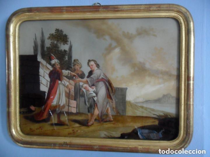 PINTURA SOBRE VIDRIO - CRISTAL - SIGLO XVIII - ESCENA BÍBLICA - ENMARCADO (Arte - Arte Religioso - Pintura Religiosa - Oleo)