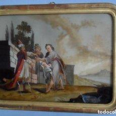 Arte: PINTURA SOBRE VIDRIO - CRISTAL - SIGLO XVIII - ESCENA BÍBLICA - ENMARCADO. Lote 110374187