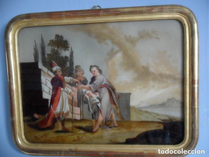 Arte: PINTURA SOBRE VIDRIO - CRISTAL - SIGLO XVIII - ESCENA BÍBLICA - ENMARCADO - Foto 2 - 110374187