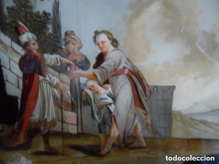 Arte: PINTURA SOBRE VIDRIO - CRISTAL - SIGLO XVIII - ESCENA BÍBLICA - ENMARCADO - Foto 3 - 110374187