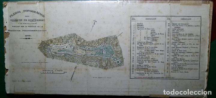 ANTIGUO GRABADO PLANO TOPOGRAFICO DEL MONASTERIO DE MONTSERRAT Y SUS ALREDEDORES AÑO 1909 (Arte - Arte Religioso - Grabados)