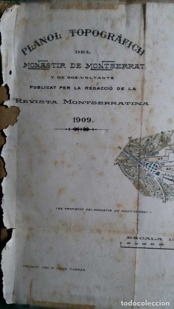 Arte: Antiguo grabado plano topografico del monasterio de montserrat y sus alrededores año 1909 - Foto 2 - 110401955
