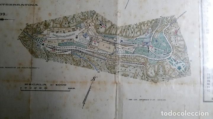 Arte: Antiguo grabado plano topografico del monasterio de montserrat y sus alrededores año 1909 - Foto 3 - 110401955