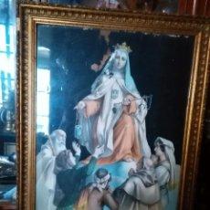 Arte: ESPECTACULAR GRAN GRABADO COLOREADO ILUMINADO A MANO VIRGEN DE LA MERCED ENMARCADO MARCO MADERA ORO. Lote 110449095