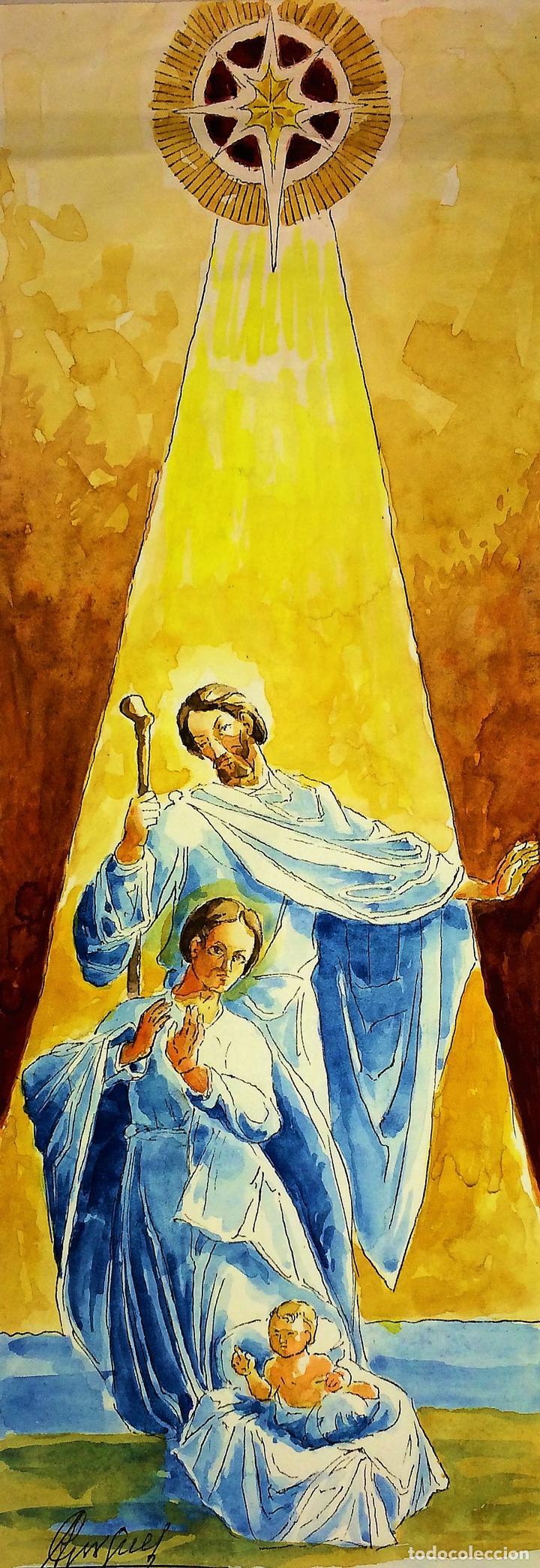 NATIVIDAD. ACUARELA SOBRE PAPEL. FIRMADO GORGUES. ESPAÑA. CIRCA 1950 (Arte - Arte Religioso - Pintura Religiosa - Acuarela)