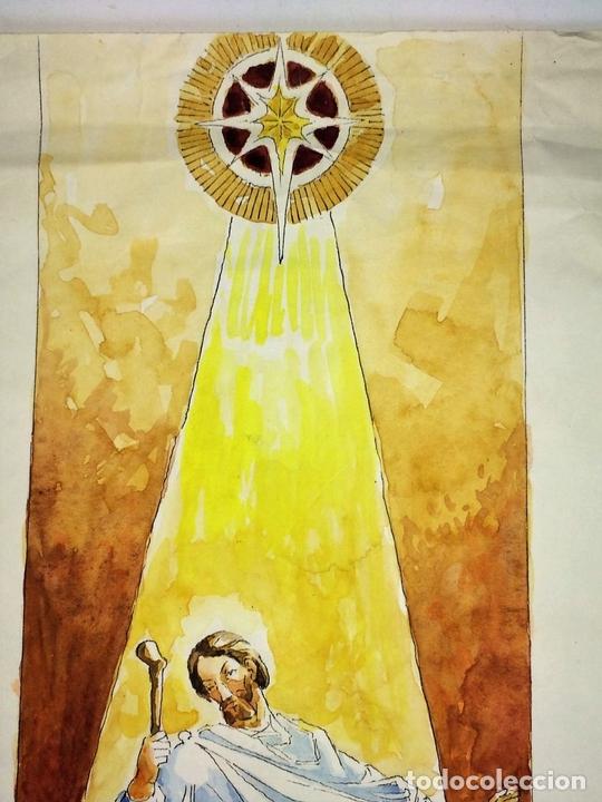 Arte: NATIVIDAD. ACUARELA SOBRE PAPEL. FIRMADO GORGUES. ESPAÑA. CIRCA 1950 - Foto 3 - 110557527