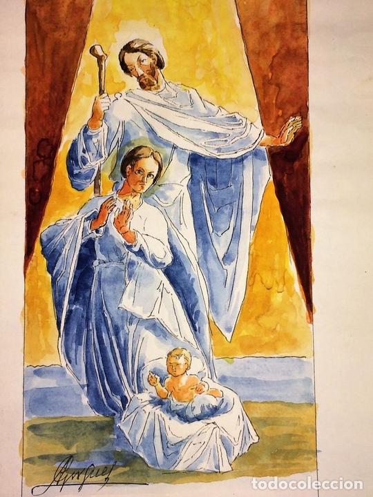 Arte: NATIVIDAD. ACUARELA SOBRE PAPEL. FIRMADO GORGUES. ESPAÑA. CIRCA 1950 - Foto 4 - 110557527
