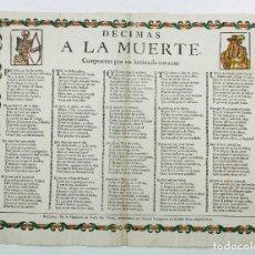 Arte: DECIMAS A LA MUERTE COMPUESTAS POR UN LASTIMADO CORAZÓN, BARCELONA. GRABADO 30,5X42 CM.. Lote 110616219