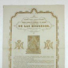 Arte: VIRGEN DE LAS MERCEDES, PATRONA DE BARCELONA. AÑO 1874 APROX. 29X42 CM.. Lote 110617275