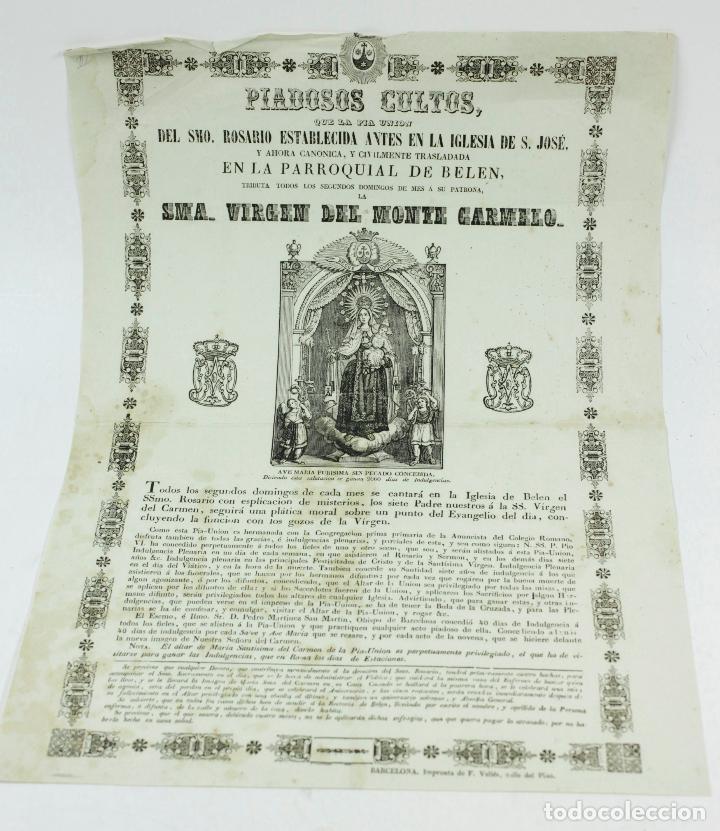 VIRGEN DEL MONTE CARMELO, PARROQUIA DE BELÉN, BARCELONA. AÑO 1860 APROX (Arte - Arte Religioso - Grabados)