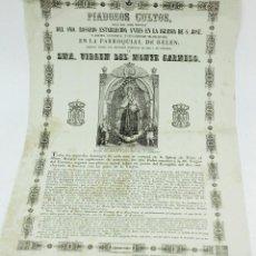 Arte: VIRGEN DEL MONTE CARMELO, PARROQUIA DE BELÉN, BARCELONA. AÑO 1860 APROX. Lote 110626927