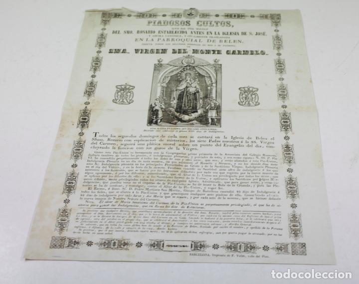 Arte: VIRGEN DEL MONTE CARMELO, PARROQUIA DE BELÉN, BARCELONA. AÑO 1860 APROX - Foto 2 - 110626927