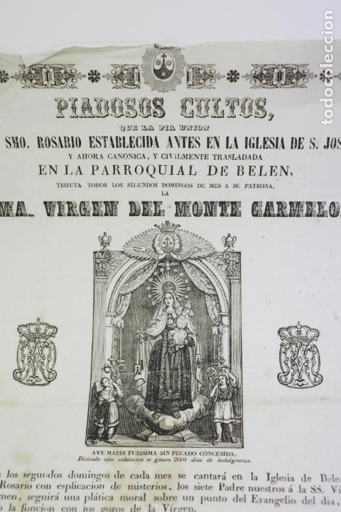 Arte: VIRGEN DEL MONTE CARMELO, PARROQUIA DE BELÉN, BARCELONA. AÑO 1860 APROX - Foto 3 - 110626927