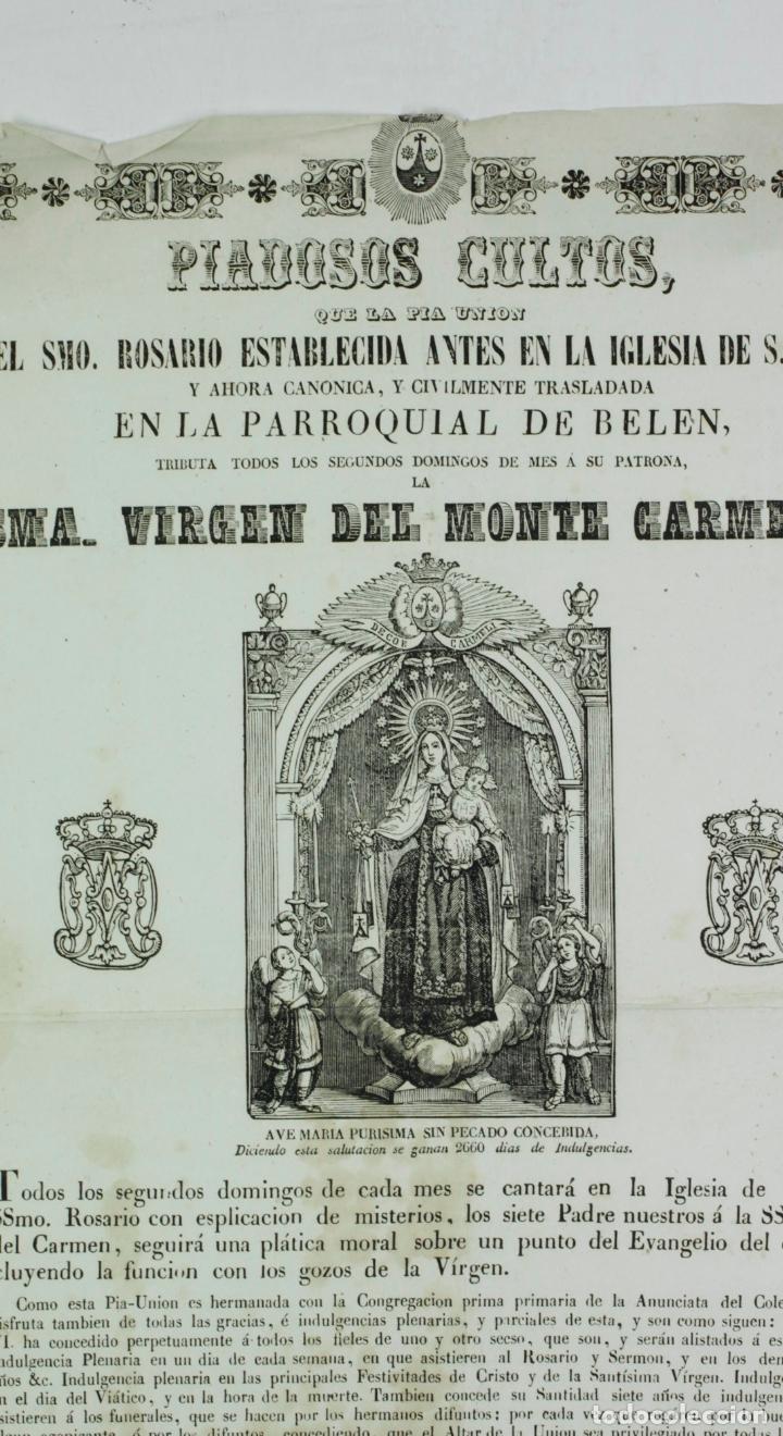 Arte: VIRGEN DEL MONTE CARMELO, PARROQUIA DE BELÉN, BARCELONA. AÑO 1860 APROX - Foto 4 - 110626927