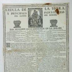Arte: CEDULA DE LA HORA Y INDULGENCIAS, EN CATALÁN, BARCELONA S. XVIII. 29X41CM.. Lote 110628379