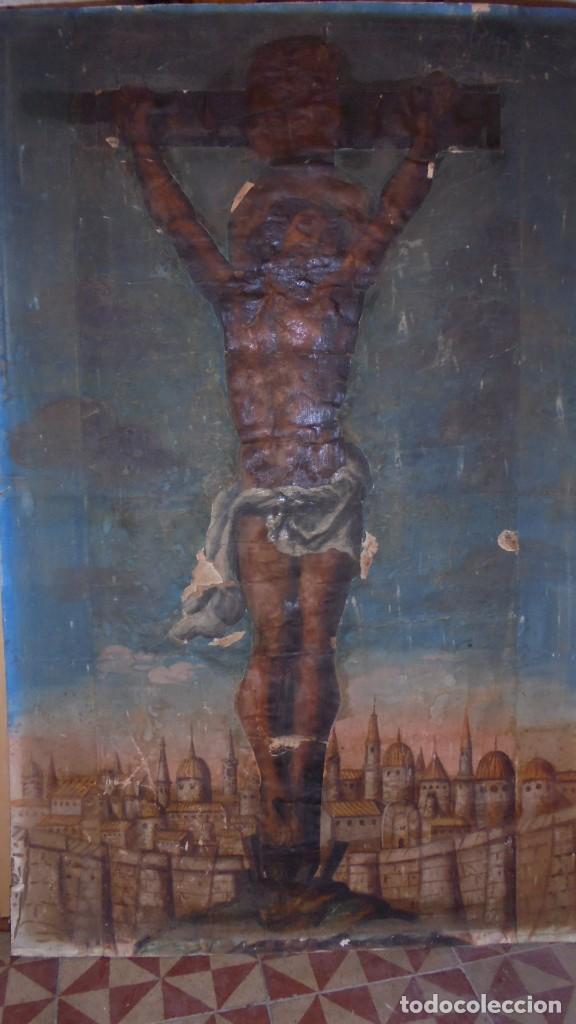 ANTIGUA PINTURA / GRABADO , CRISTO , CON PAISAJE , S.XVIII - ( EL CRISTO ES UN GRABADO COLOREADO (Arte - Arte Religioso - Pintura Religiosa - Otros)